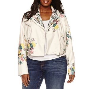 Ashley Nell Tipton Flower Leather Jacket 2X